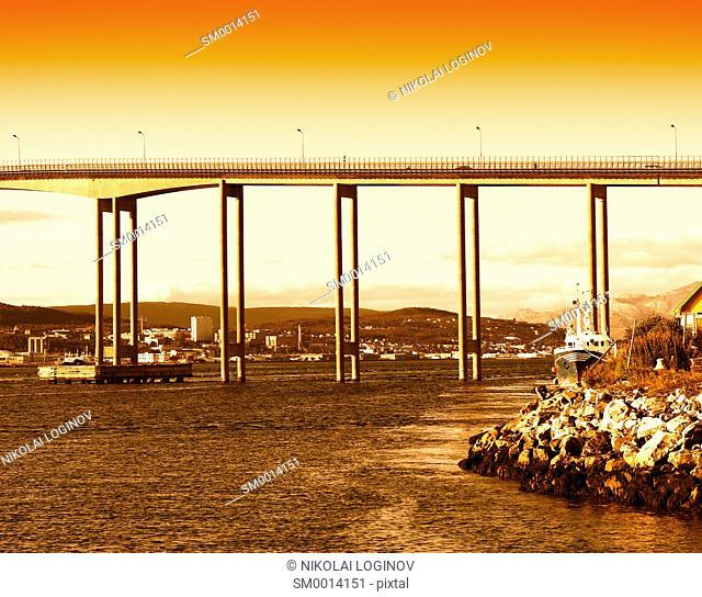 Norway city bridge during sunset background hd