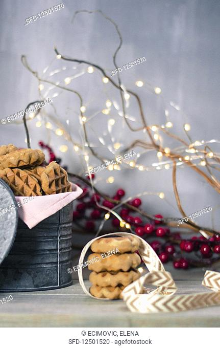 Winter waffle cookies
