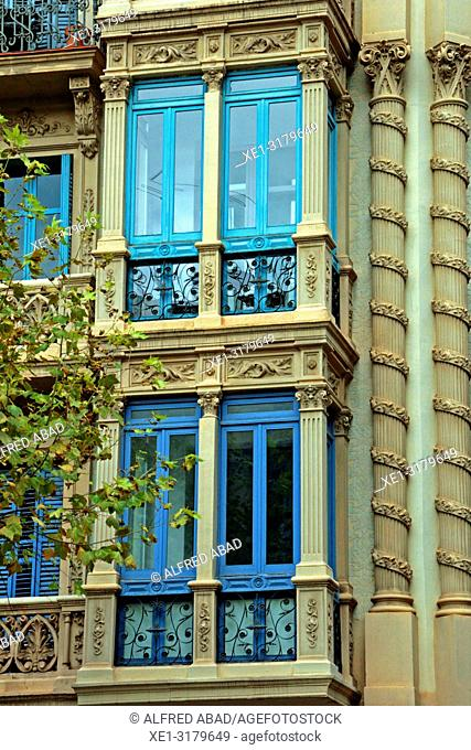 Modernist windows, Eixample district, Barcelona, Catalonia, Spain