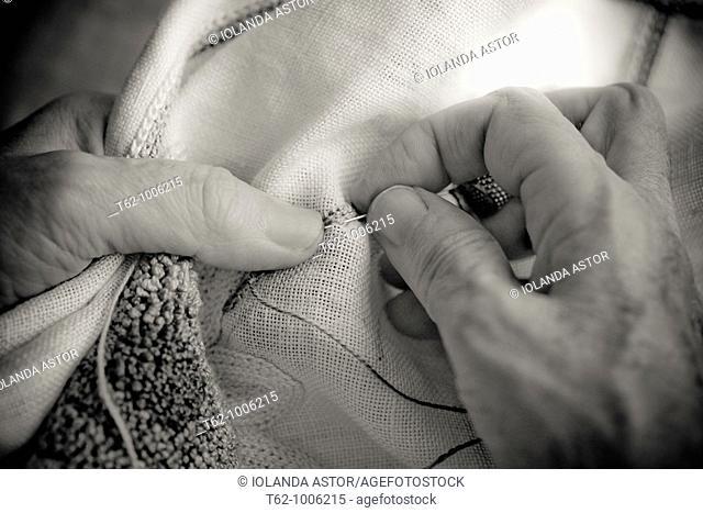 Handicraft  Cross-stitch work  Good linen  Close