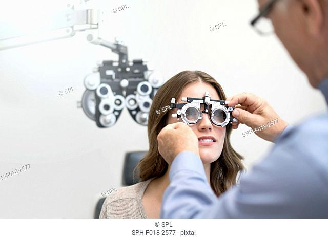 Woman wearing eyesight testing spectacles