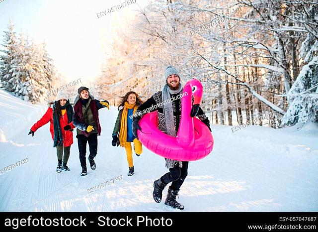 A group of young cheerful friends on a walk outdoors in snow in winter forest, having fun