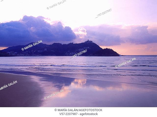 Sunset from La Concha beach. San Sebastian, Guipuzcoa province, Basque Country, Spain
