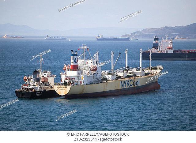 Cargo ships lying at anchor,Gibraltar Bay or Bay of Algeciras or Algeciras Bay