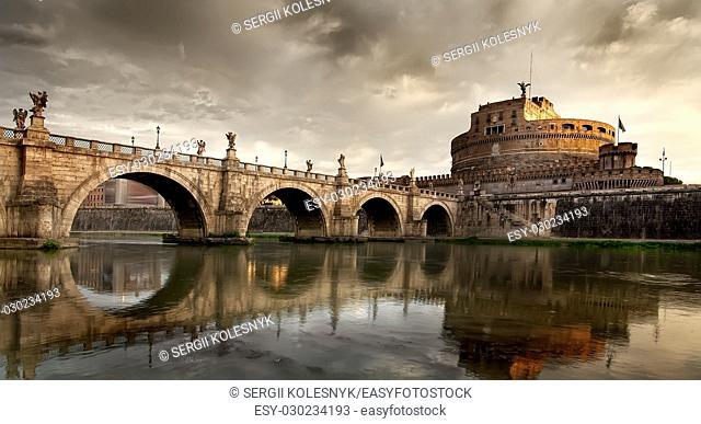 Sant Angelo bridge and Mausoleum of Hadrian in Rome, Italy