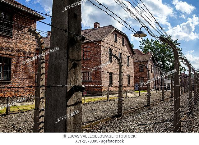 Electric fence, concentration camp. Auschwitz. Poland