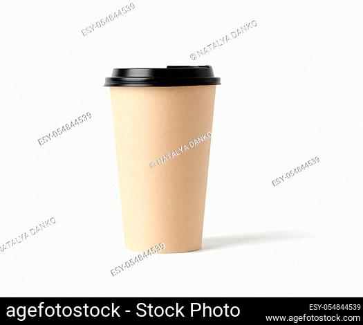 disposable hot drink paper cup with lid isolated on white background, takeaway food