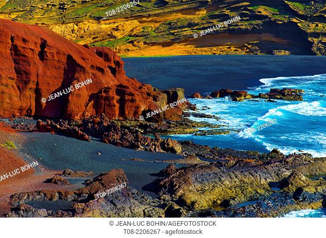 spain,canary islands,lanzarote : el golfo