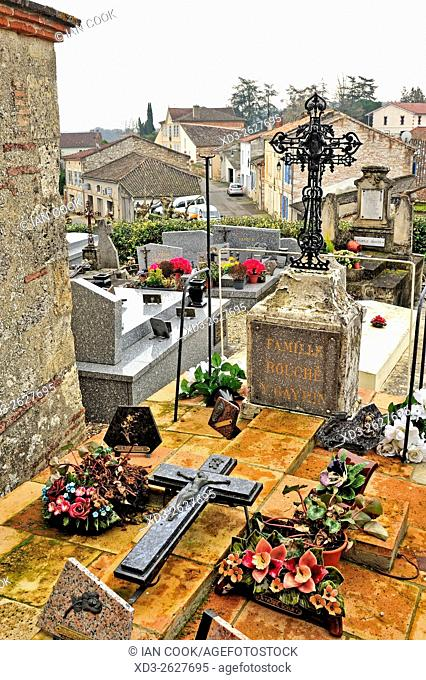 cemetery at St. Pierre Church, Auvillar, Tarn-et-Garonne Department, Midi-Pyrenees, France