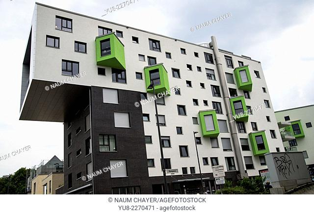Original apartment house with special architectural design of residential buildings, Bonn, Germany, Europe