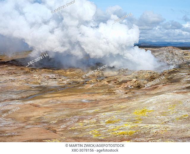 Geothermal area Gunnuhver, Reykjanes peninsula during fall. europe, northern europe, iceland, august