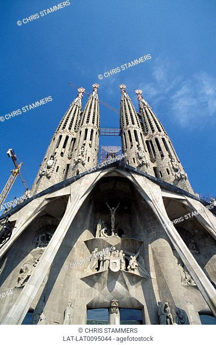 La Sagrada Familia. Gaudi cathedral. West facade. View of towers