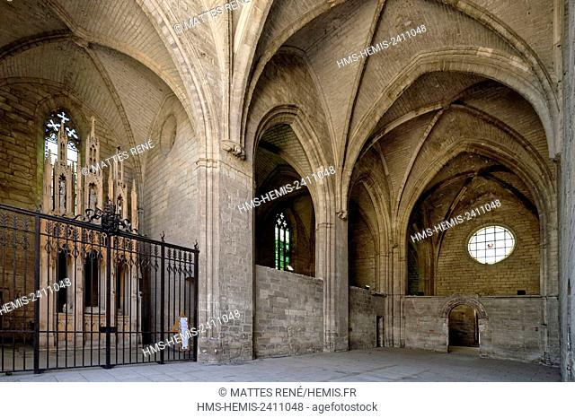 France, Gard, Villeneuve les Avignon, the Val de Benediction chartreuse, the church and Lying tomb of Innocent VI, pope between 1352 and 1362 and coming from...