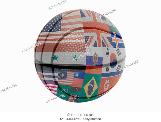 Flags all countries of world on volleyball ball isolated on a white background