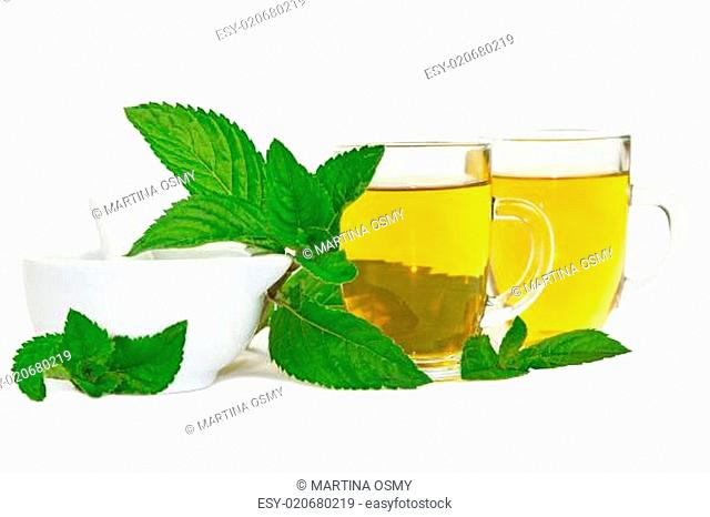 Lemon balm or mint tisane or tea