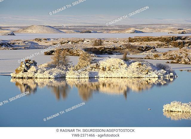 Snow covered landscape in Northern Iceland, Lake Myvatn, Iceland