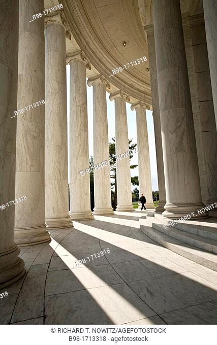 Marble columns create a shadow pattern at the Jefferson Memorial