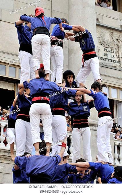 'Castellers' in Plaça de Sant Jaume, Barcelona. Catalonia, Spain
