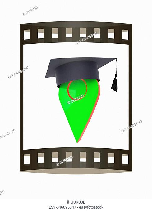 Geo pin with graduation hat on white. School sign, geolocation and navigation. 3d illustration. The film strip