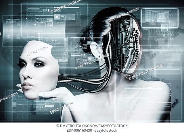 Biomechanical Woman, abstract futuristic background
