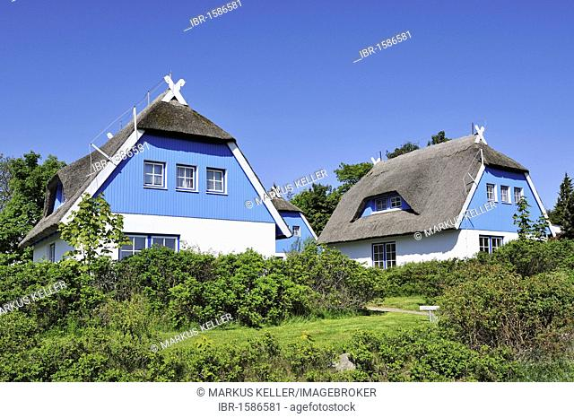 A traditional thatched holiday home on Hiddensee Island, district of Ruegen, Mecklenburg-Western Pomerania, Germany, Europa