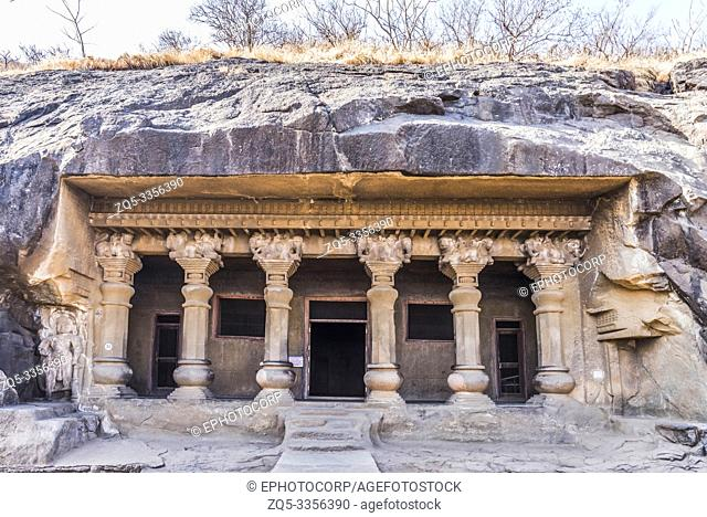Facade of Cave 10, showing pillars with beautiful capitals showing animal figures, Nasik, Maharashtra