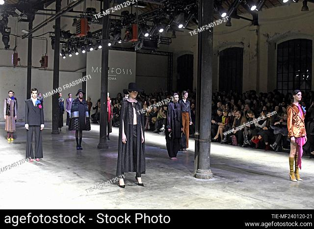 Fashion show by Morfosis, models on catwalk at AltaRoma 2020, Rome, ITALY-24-01-2020