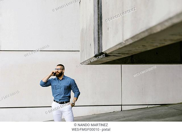 Bearded hipster businessman on the phone