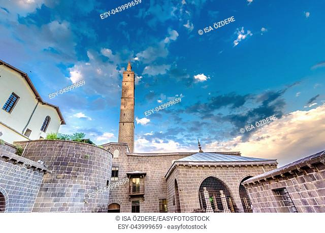 With blue sky,Exterior view of Hazreti Suleyman Mosque in Sur region,Diyarbakir,Turkey. 15 July 2018