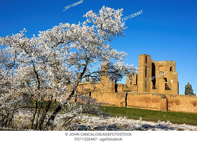 Hoarfrost - Warwickshire - England - Showing Kenilworth Castle - Partially destroyed during English Civil War