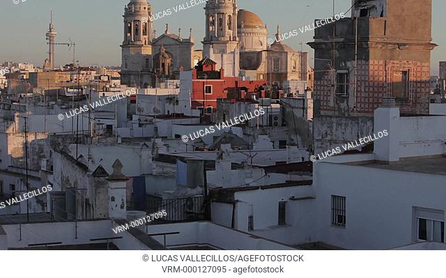 Skyline of Cádiz, Cathedral and viewpoint tower .Cádiz, Andalusia, Spain