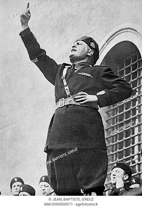 Benito Mussolini 1883-1945 - 'Il Duce' - Italian fascist dictator addressing fascist youths on the occasion of the calling up of the conscripts of the 1911...