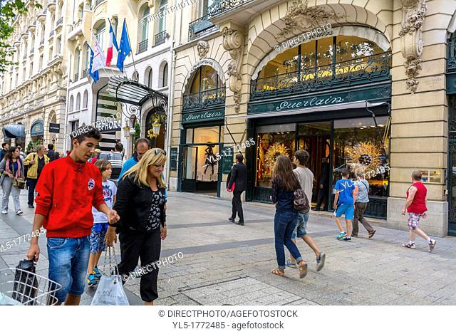 Paris, France, People Shopping on the Avenue Champs Elysees, Guerlain French Perfumes, Store Front
