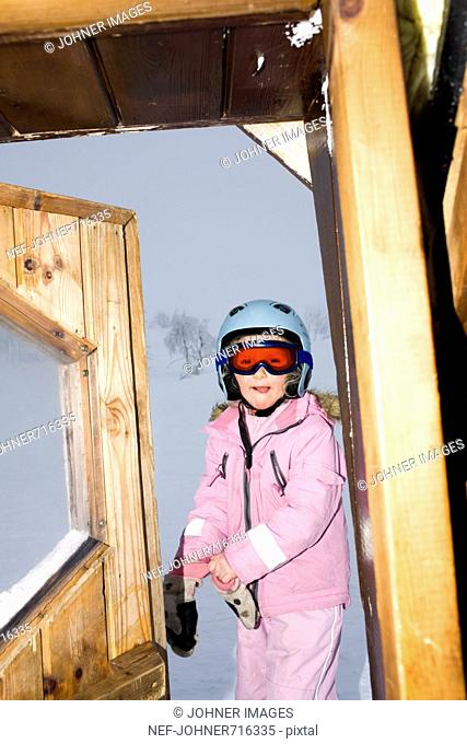 Girl skiing, Sweden