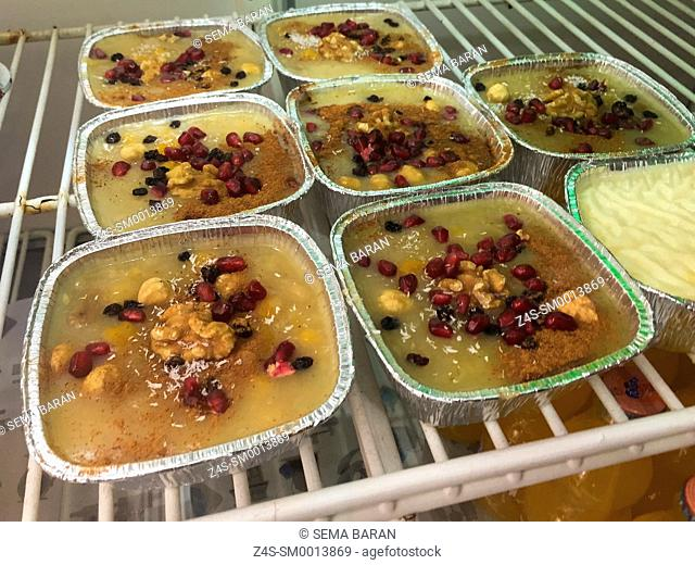 Noah Pudding, Asure, Ashure, Turkish traditional sweet pastry with fruits, Istanbul, Turkey, Europe