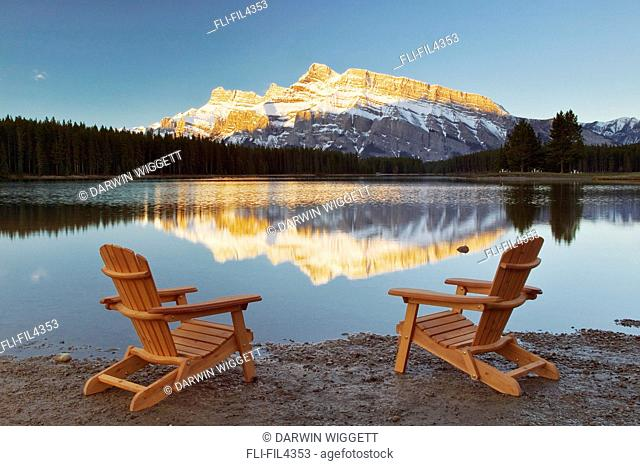 Muskoka Chairs in front of Mt Rundle and Two Jack Lake, Banff National Park, Alberta