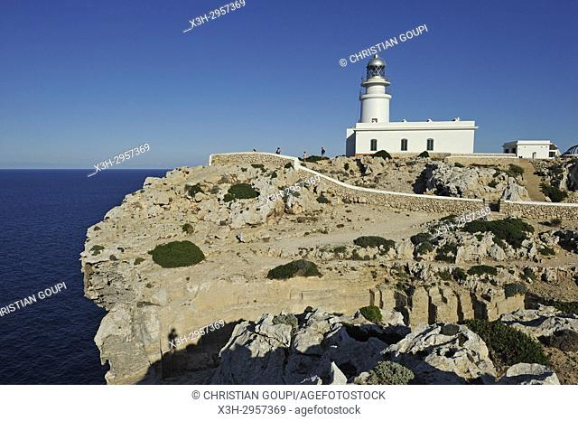 lighthouse at Cape Cavalleria on the North Coast of Menorca, Balearic Islands, Spain, Europe