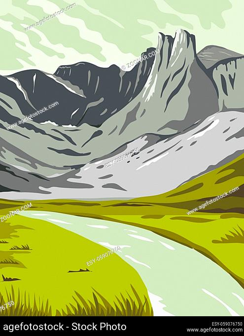 WPA poster art of Gates of the Arctic National Park, an American national park that protects Brooks Range in Alaska, United States done in works project...