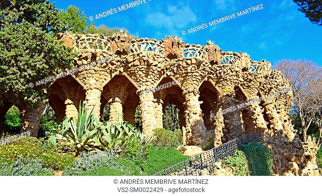 Guell Park in Barcelona, architect Antonio Gaudí