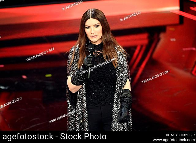 Italian singer Laura Pausini, Golden Globe winner, at the Ariston theater during the 71st Sanremo Italian Song Festival, in Sanremo, Italy, 03 March 2021