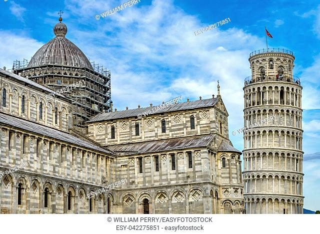 Cathedral Leaning Tower Piazza del Miracoli Cathedral Pisa Tuscany Italy. Completed in 1300s