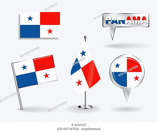 Set of Panamanian pin, icon and map pointer flags. Vector illustration