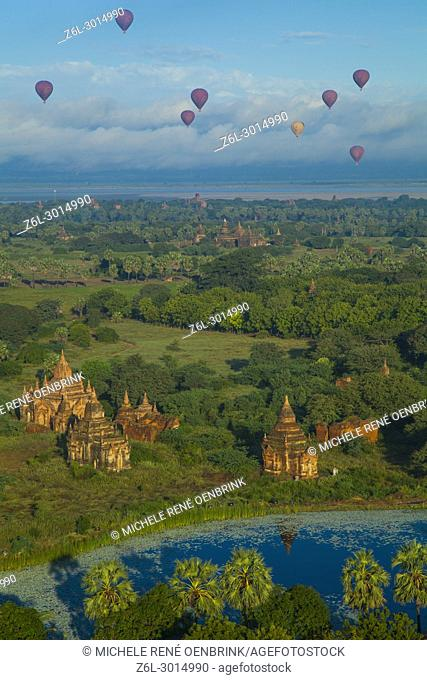 Hot air balloons Morning view of the temples of Bagan Myanmar