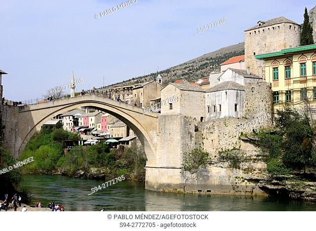 "Old bridge """"Stari Most"""" and Neretva river in Mostar, Bosnia and Herzegovina"