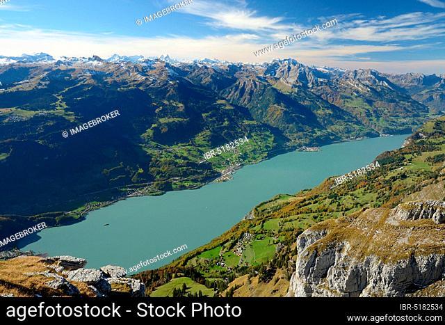 Lake Walen, view from Chäserrugg, Switzerland, Europe