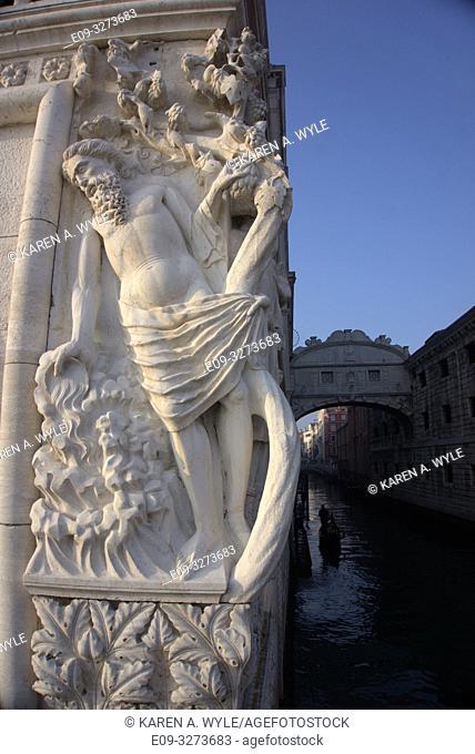 sculptural detail on Ponte della Paglia along Riva degli Schiavoni, Venice, Italy