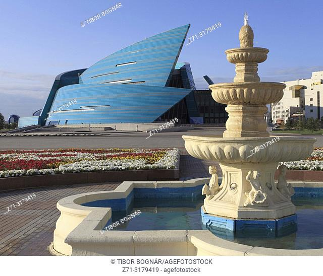 Kazakhstan; Astana; Central Concert Hall, fountain,