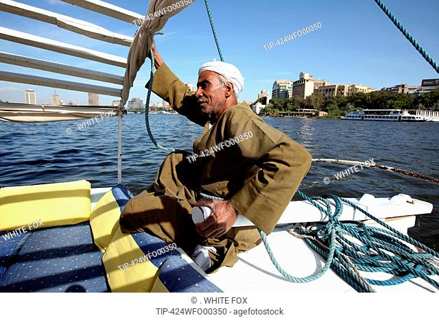 Africa, Egypt, Cairo, Nile River, Felucca typical sail boat