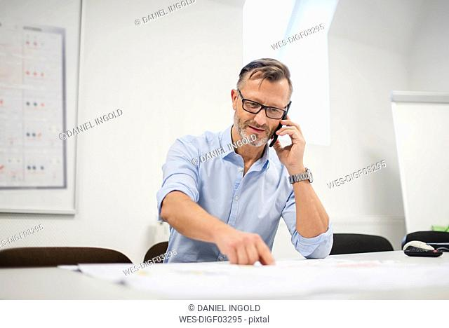 Mature businessman talking on phone at desk in office