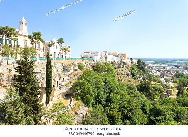 Massafra, Apulia, Italy - Church and park built on the mountains for safety reasons